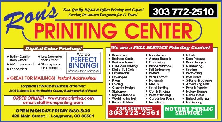 Coupon: Rons Printing Center -  - Our staff is easy to work with and has the experience and skill to handle an impressive range of print and print related projects.