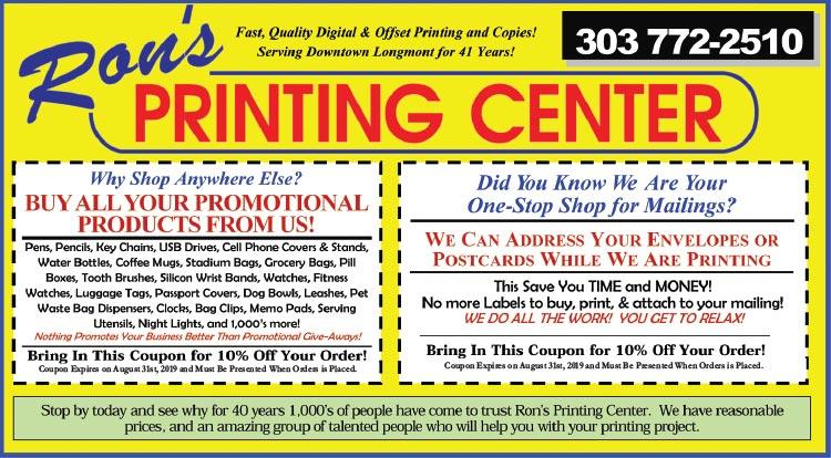 Coupon: Rons Printing Center - 10% Off Your Order - Our staff is easy to work with and has the experience and skill to handle an impressive range of print and print related projects.