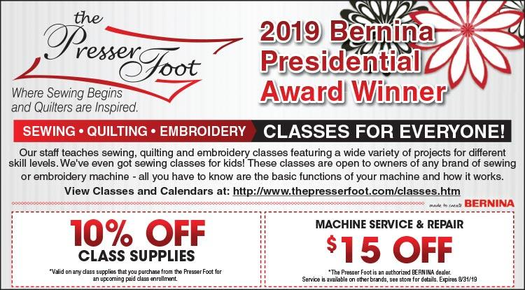 Coupon: The Presser Foot - 10% Off Class Supplies -