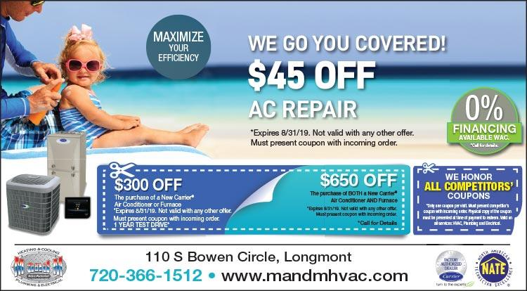 Coupon: M and M Heating Cooling Plumbing - $45 Off A/C Repair - Serving The Heating and Cooling Needs of Longmont