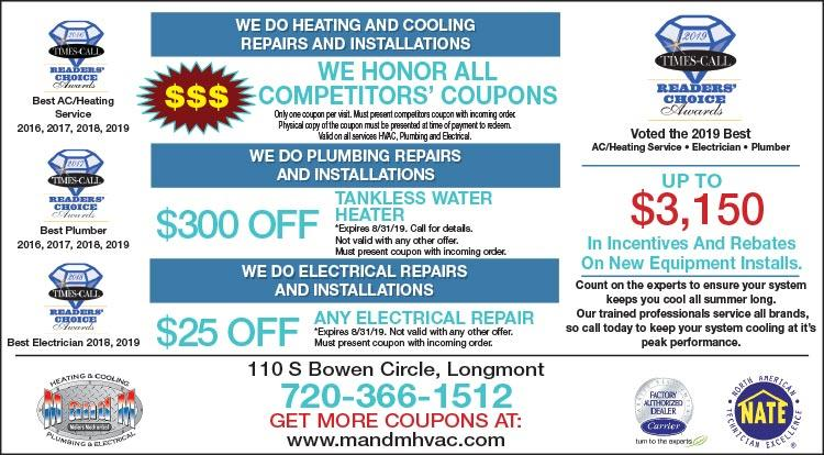Coupon: M and M Heating Cooling Plumbing -  - Serving The Heating and Cooling Needs of Longmont