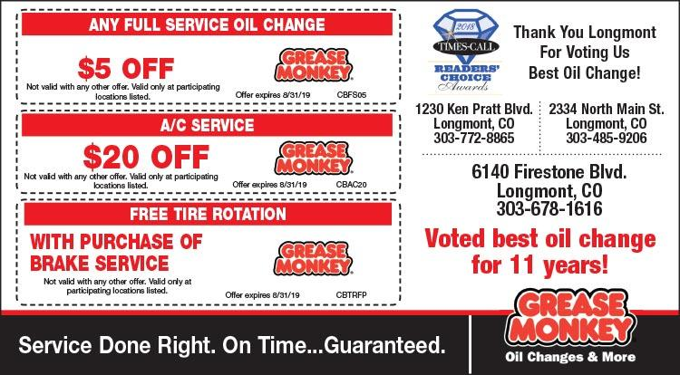 Coupon: Grease Monkey - $5 Off Any Full Service Oil Change - Serving Longmont and surrounding communities since 1987!