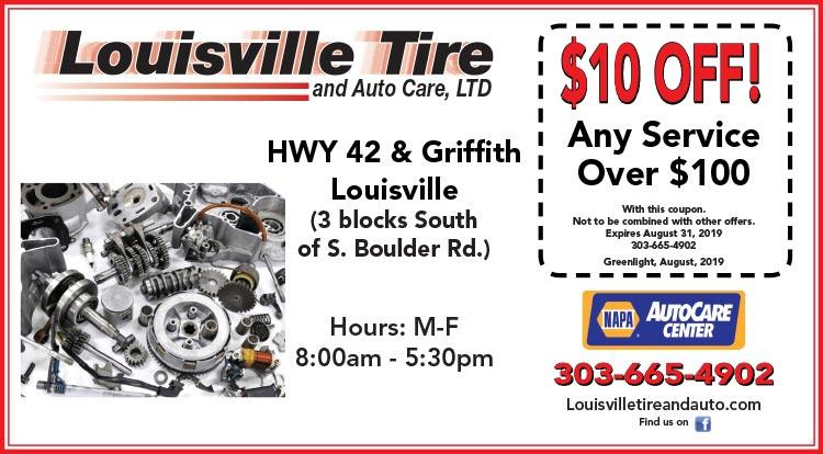 Coupon: Louisville Tire & Auto - $10 Off any Service Over $100 - Louisville Tire & Auto Care provides outstanding tire and auto repair services in Louisville, CO.