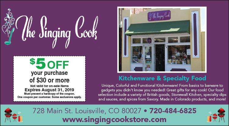 Coupon: The Singing Cook -  - Small Business Saturday - With $100+ purchase, receive a $10 Gift Card to a Louisville business.