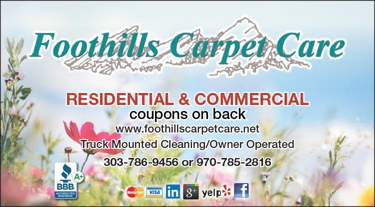 Coupon: Foothills Carpet Care -  - Foothills Carpet Care is a full service Carpet Cleaning and Water Damage Restoration company.
