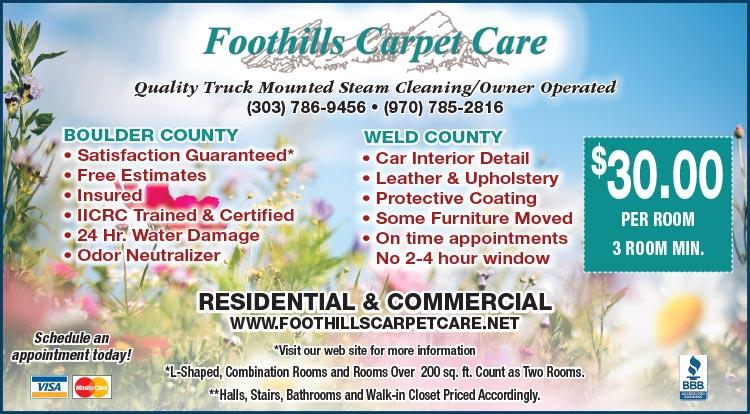 Coupon: Foothills Carpet Care - $30 Per Room 3 Room Min. - Foothills Carpet Care is a full service Carpet Cleaning and Water Damage Restoration company.