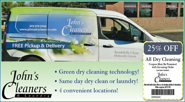Coupon: John's Cleaners & Laundry - 25% Off All Dry Cleaning - PROVIDING EXCEPTIONAL DRY CLEANING SERVICE FOR BOULDER, SUPERIOR, LAFAYETTE AND MORE!