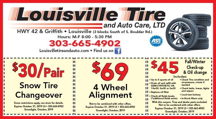 Coupon: Louisville Tire & Auto - $30/Pair Snow Tire Changeover - Louisville Tire & Auto Care provides outstanding tire and auto repair services in Louisville, CO.