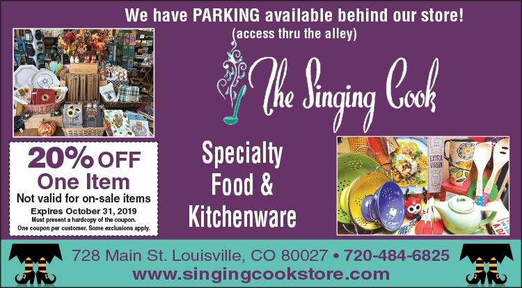 Coupon: The Singing Cook - 20% Off One Item - Small Business Saturday - With $100+ purchase, receive a $10 Gift Card to a Louisville business.
