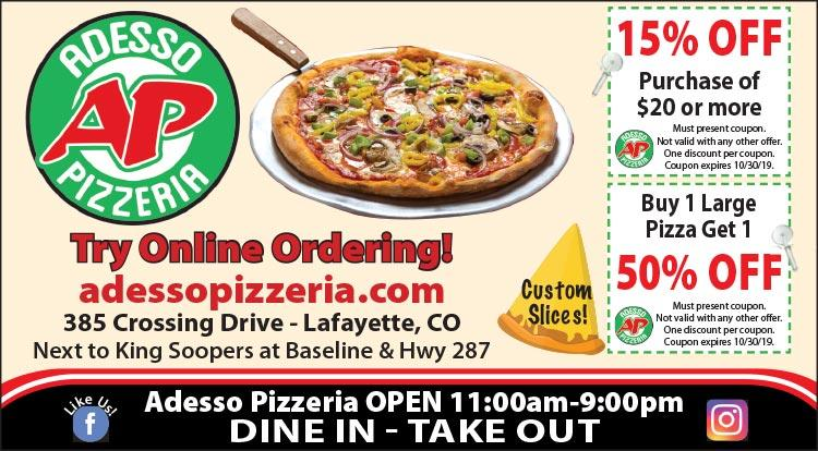 Coupon: Adesso Pizzeria - Buy 1 Large Pizza, Get 1 50% Off -