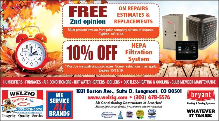 Coupon: Welzig Heating and Air - 10% Off HEPA Filtration System - 24 Hour Emergency Service - Call 303-678-5576