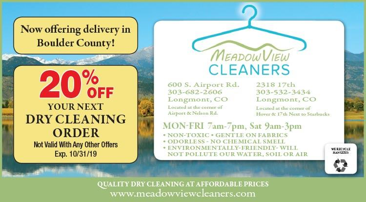 Coupon: Meadow View Cleaners - 20% Off Your Next Dry Cleaning Order -