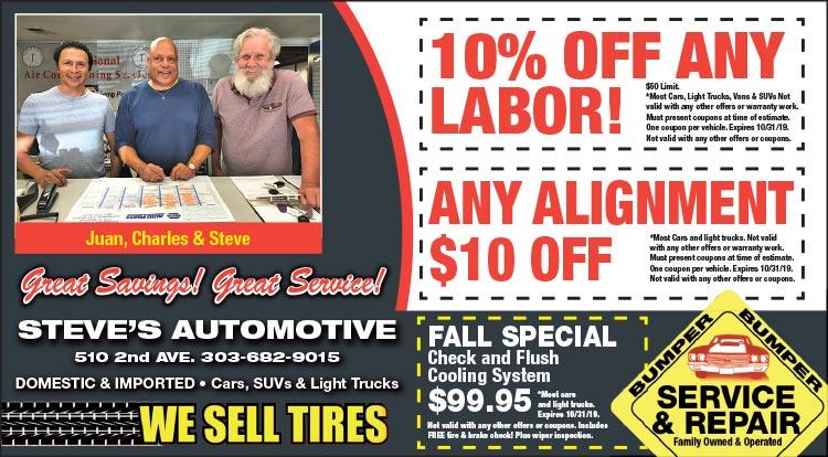 Coupon: Steve's Automotive - 10% Off Any Labor - Steve's Automotive is a full service automotive repair and auto maintenance shop.
