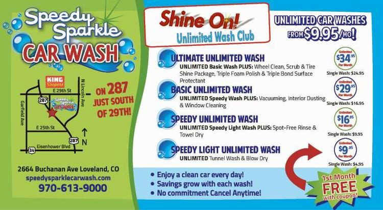 Coupon: Speedy Sparkle Car Wash - Unlimited Car Washes from $9.95 - Your Best Car Wash in Loveland