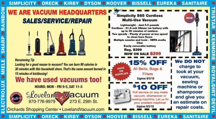 Coupon: Loveland Vacuum - $10 Off Full Service -  FREE ESTIMATES on all repairs!