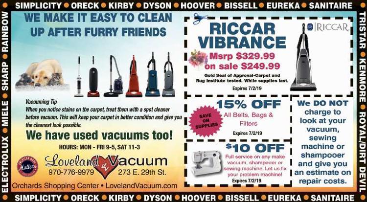 Coupon: Loveland Vacuum - RiICCAR VIBRANCE $249.99 -  FREE ESTIMATES on all repairs!