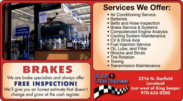 Coupon: Mobil 1 Lube Express - Free Brake Inspection - Changing the way Northern Colorado does car care!