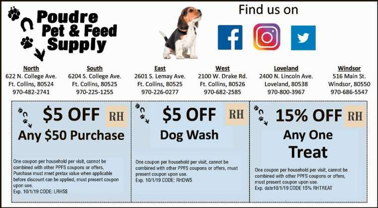 Coupon: Poudre Pet & Feed Supply (RH) - $5 Off Any $50 Purchase - Where Quality Service is Standard