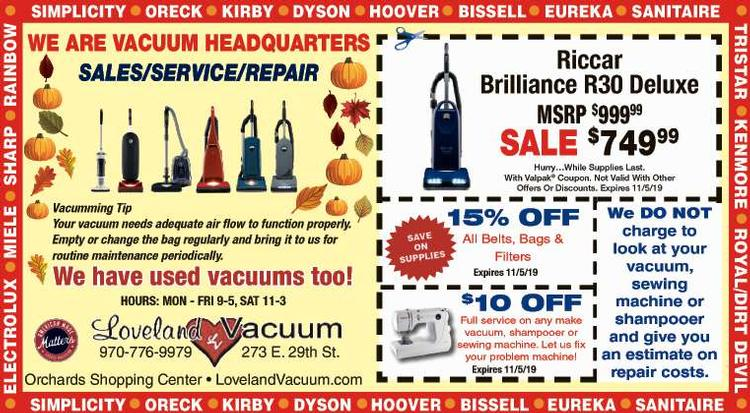 Coupon: Loveland Vacuum - 15% Off Belts, Bags & Filters -  FREE ESTIMATES on all repairs!