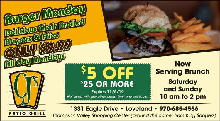 Coupon: CJ's Patio Grill - $5 Off $25 or More - SERVING LUNCH & DINNER DAILY