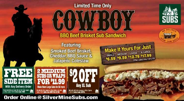 Coupon: Silver Mine Subs (RH) - Free Side Item -