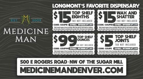 Coupon: Medicine Man Longmont - $15 Top Shelf Eighth