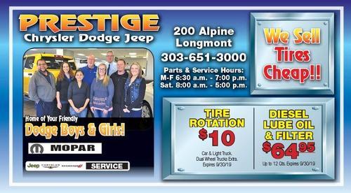 Coupon: Prestige Dodge - $10 Tire Rotation