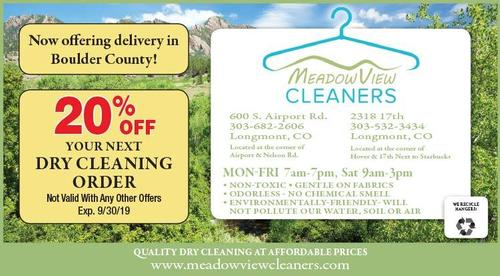 Coupon: Meadow View Cleaners - 20% Off Your Next Dry Cleaning Order