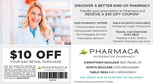Coupon: Pharmaca Integrative Pharmacy - $10 Off Your $40 Retail Purchase