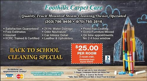 Coupon: Foothills Carpet Care - $25 Per Room 3 Room Min.