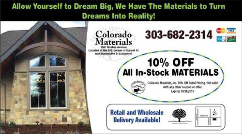Coupon: Colorado Materials - 10% Off All In-Stock Materials