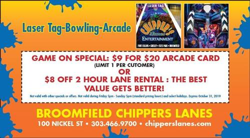 Coupon: Chippers Lanes - $9 For $20 Arcade Card