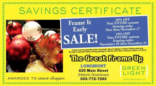 Coupon: The Great Frame Up - 20% Off Your Entire Custom Framing Order Through Nov. 27
