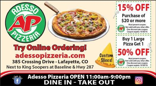 Coupon: Adesso Pizzeria - Buy 1 Large Pizza, Get 1 50% Off