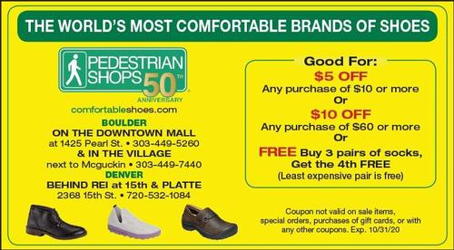 Coupon: Pedestrian Shops - $5 Off Any Purchase of $10 Or More