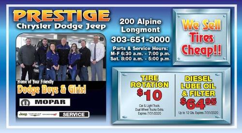 Coupon: Prestige Dodge - $10 Tire Rotation