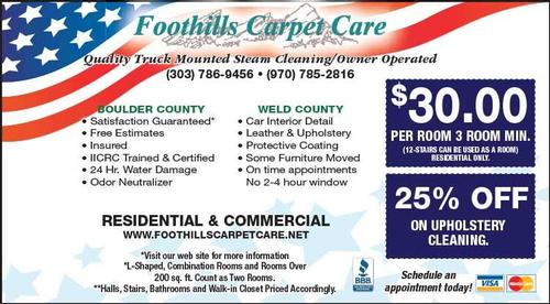 Coupon: Foothills Carpet Care - 25% Off Upholstery Cleaning
