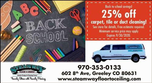 Coupon: Steamway Floor to Ceiling - 25% Off Back to School Savings
