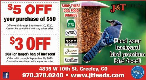 Coupon: J & T Feeds - $50 Off Purchase of $50