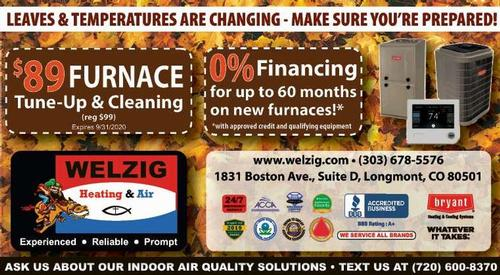 Coupon: Welzig Heating and Air - $89 Furnace Tune-up