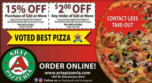 Coupon: Arte Pizzeria - 15% Off Purchase of $20 or More