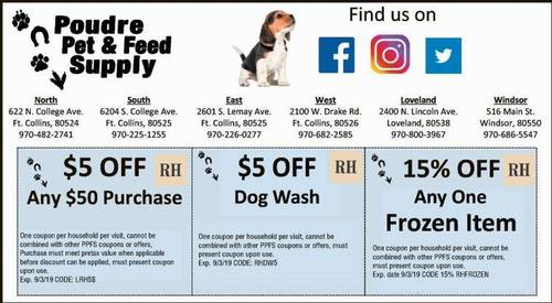 Coupon: Poudre Pet & Feed Supply (RH) - $5 Off Any $50 Purchase