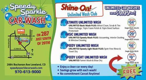 Coupon: Speedy Sparkle Car Wash - Unlimited Car Washes from $9.95