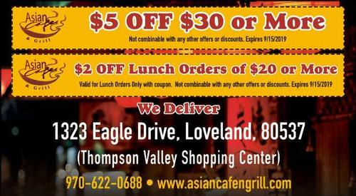 Coupon: ASIAN CAFE & GRILL(RH) - $2 Off Lunch Orders of $20 or More