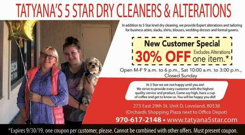 Coupon: Tatyana's 5 Star Dry Cleaners & Alterations - New Customer Special 30% Off