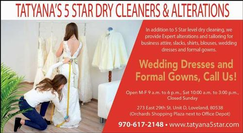 Coupon: Tatyana's 5 Star Dry Cleaners & Alterations - Wedding Dresses and Formal Gowns, Call Us!