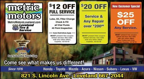 Coupon: Metric Motors - $25 Off Any Service
