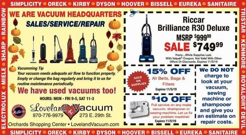 Coupon: Loveland Vacuum - 15% Off Belts, Bags & Filters