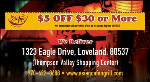 Coupon: ASIAN CAFE & GRILL(RH) - $5 Off $30 or More