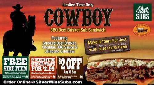 Coupon: Silver Mine Subs (RH) - Free Side Item